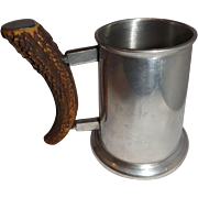 Vintage VINERS Antler Handle Pewter Pint Stein