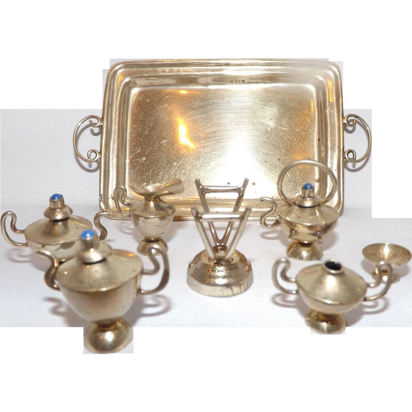 "Vintage ""Alpaca"" Silver with Turquoise Miniature Doll Tea Set"