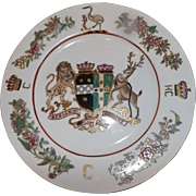 Hand Painted 1851 Dinner Plate with Earl of Chatham Family Coat of Arms