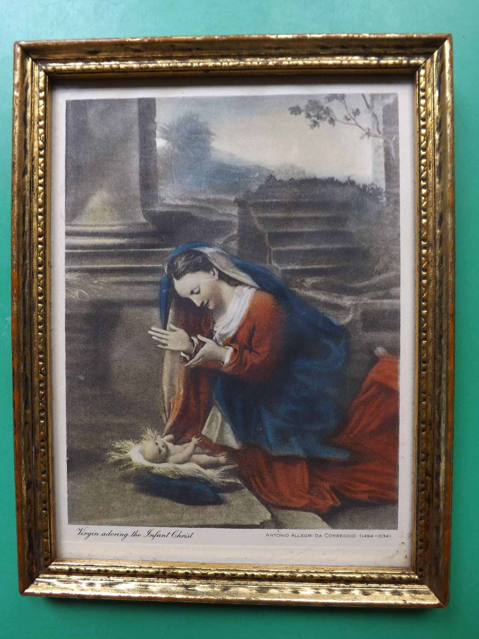 """Antique Hand Colored Photoengraved Small Print """"Virgin adoring the Infant Christ"""""""