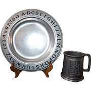 Vintage Wilton Armetale Pewter ABC set Plat and Mug
