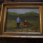 Original Vivian Hollan Miniature Oil Painting - Father and Daughter