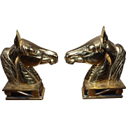 """Vintage 1954 Virginia Metalcrafters """"The Stallion"""" Horse Head Brass Bookends"""