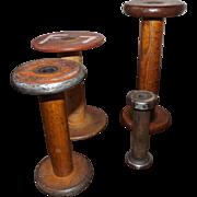 Group of 4 Antique Wooden Textile Spools