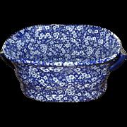 Large Vintage Blue Porcelain Rectangular Jardiniere Planter Foot Bath