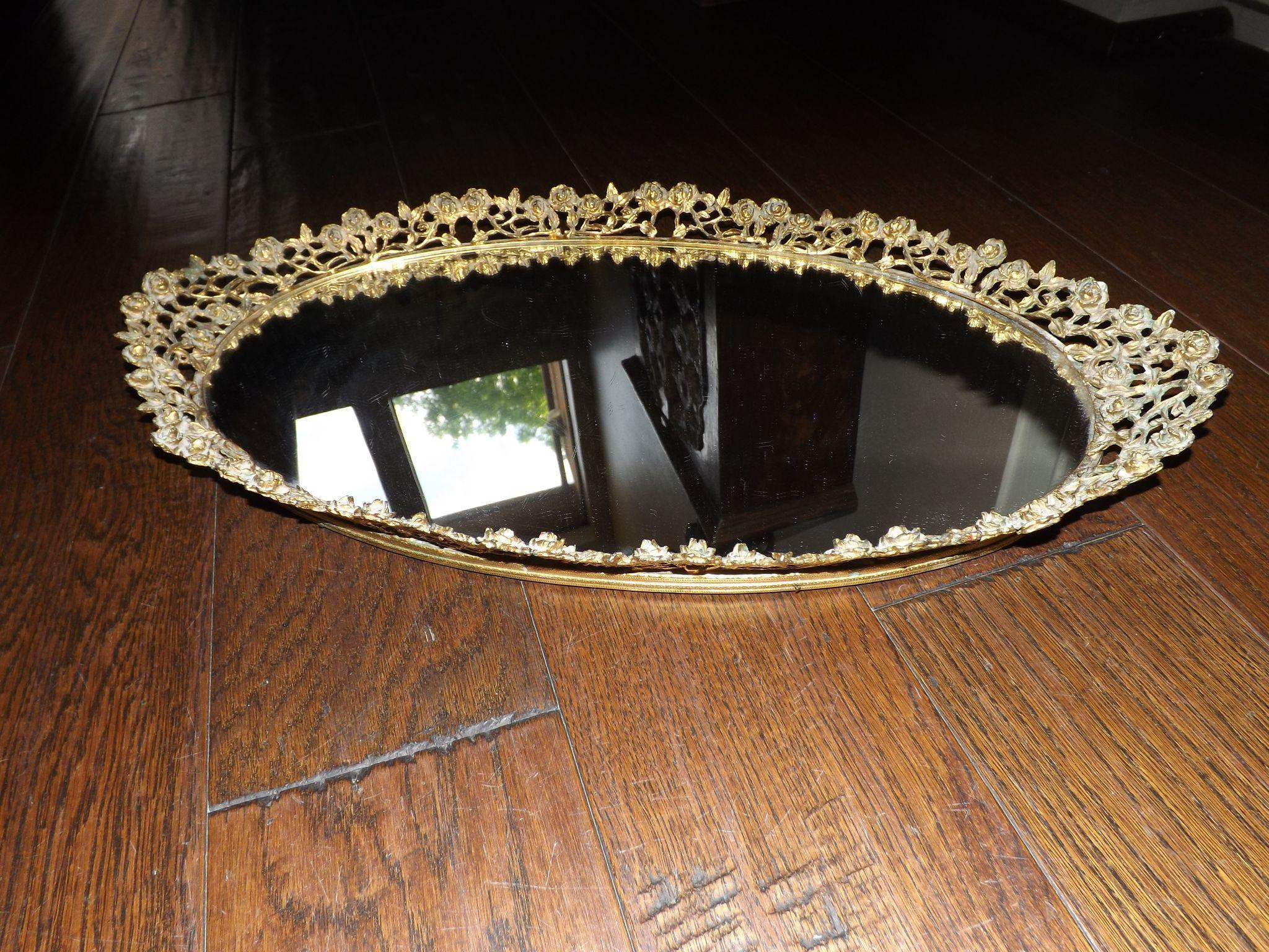 Vintage Oval Mirror Vanity Tray with Roses