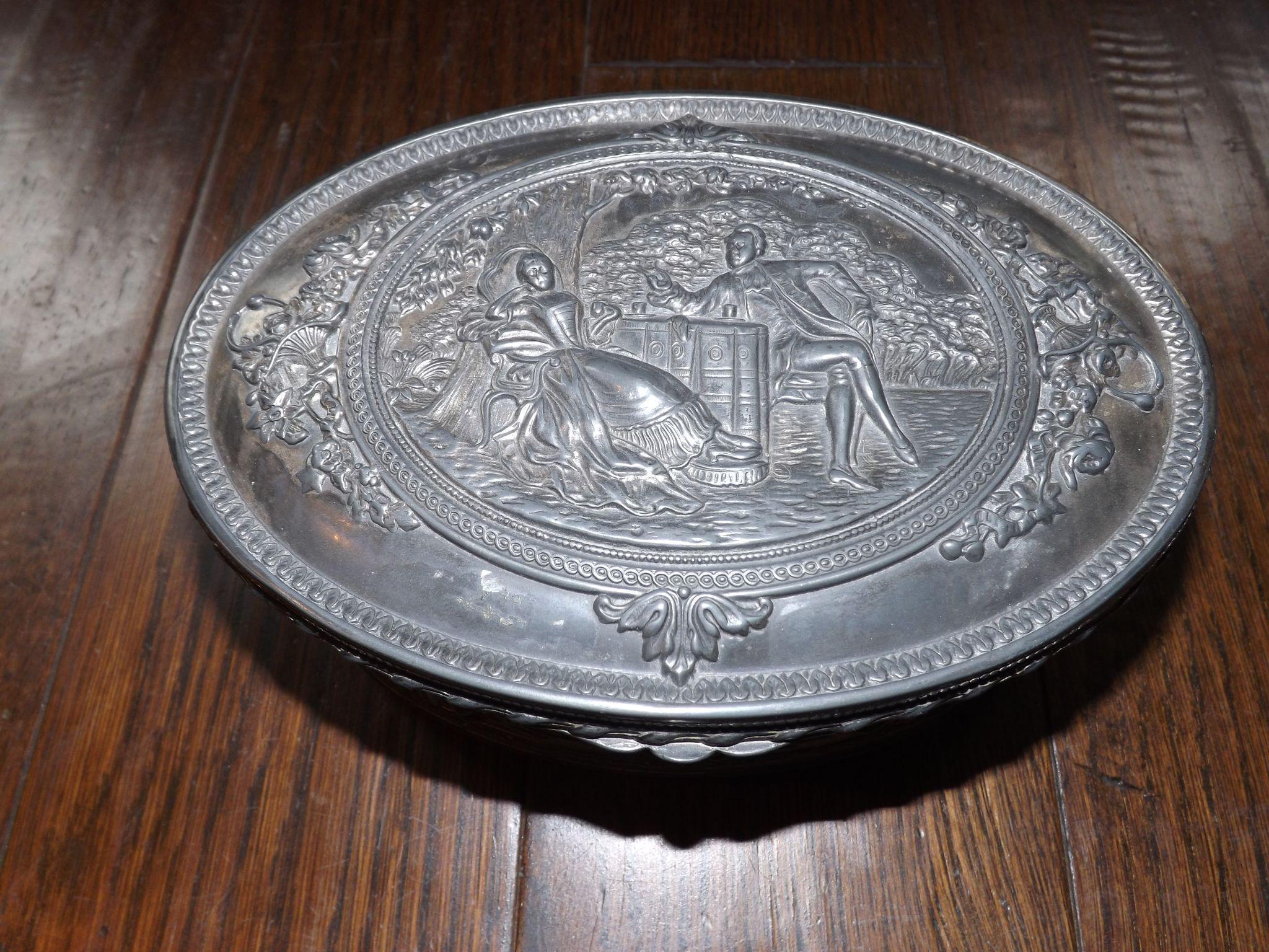 Jennings Brothers Pewter Trinket Jewelry Box 1915