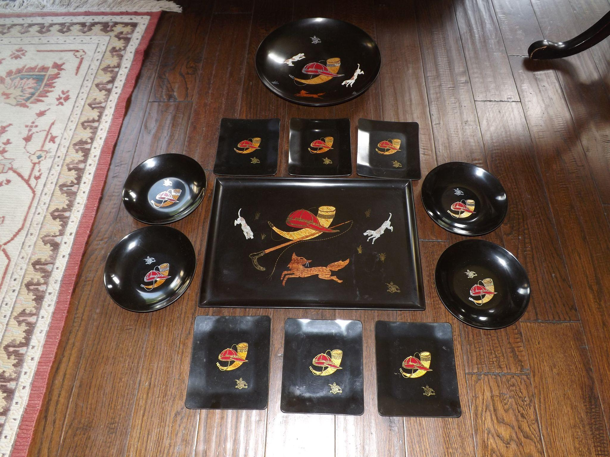 Rare set of Couroc of Monterey Phenolic Serving Pieces made for Anheuser Busch
