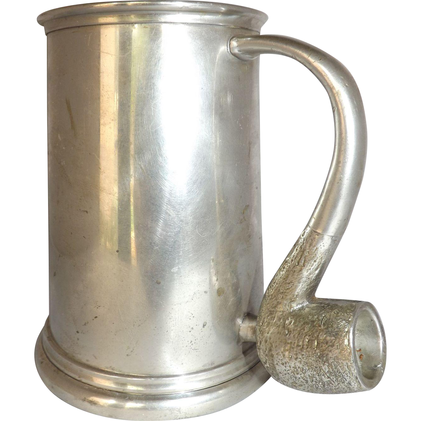 Vintage Sheffield England Pewter Tankard with Pipe Handle