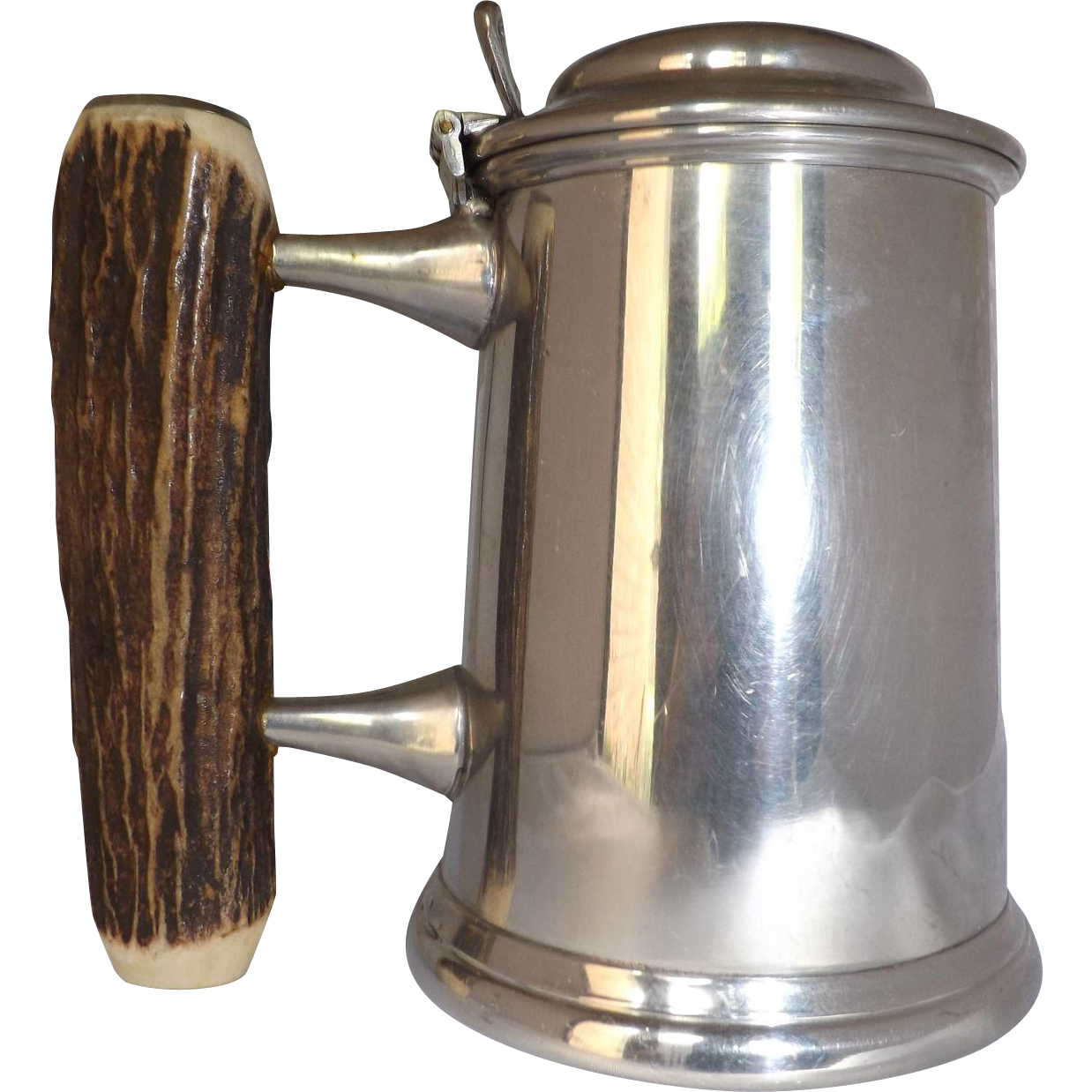Vintage Samuel Peace Glass Bottom Pewter Tankard with Antler Handle