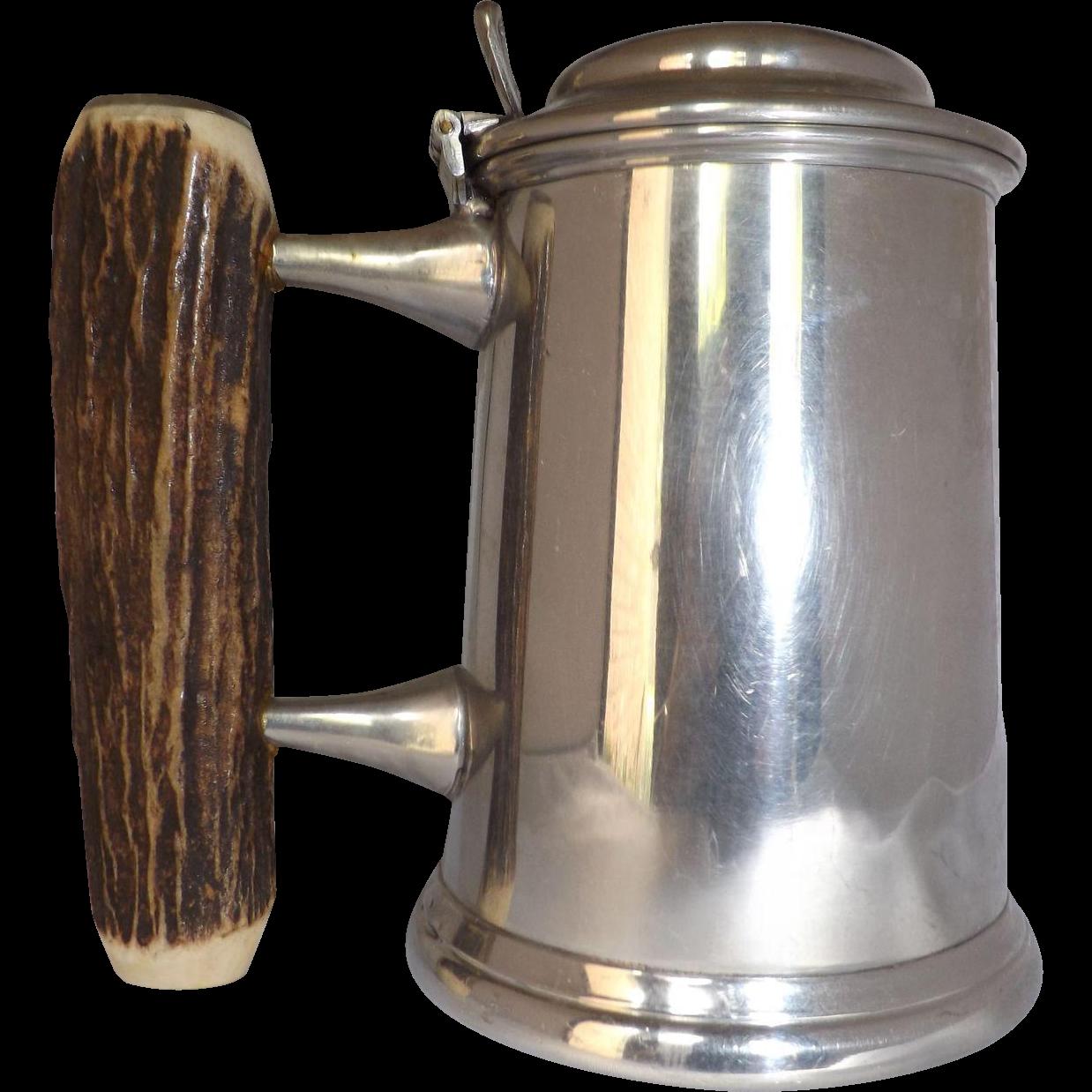 Vintage Samuel Peace Glass Bottom Pewter Tankard with Antler Handle