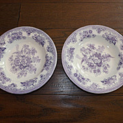 Set of 2 Antique Gustafsberg China Bowls - Asiatic Pheasants - Purple