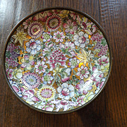 Vintage Hong Kong Porcelain Enameled Floral and Brass Bowl