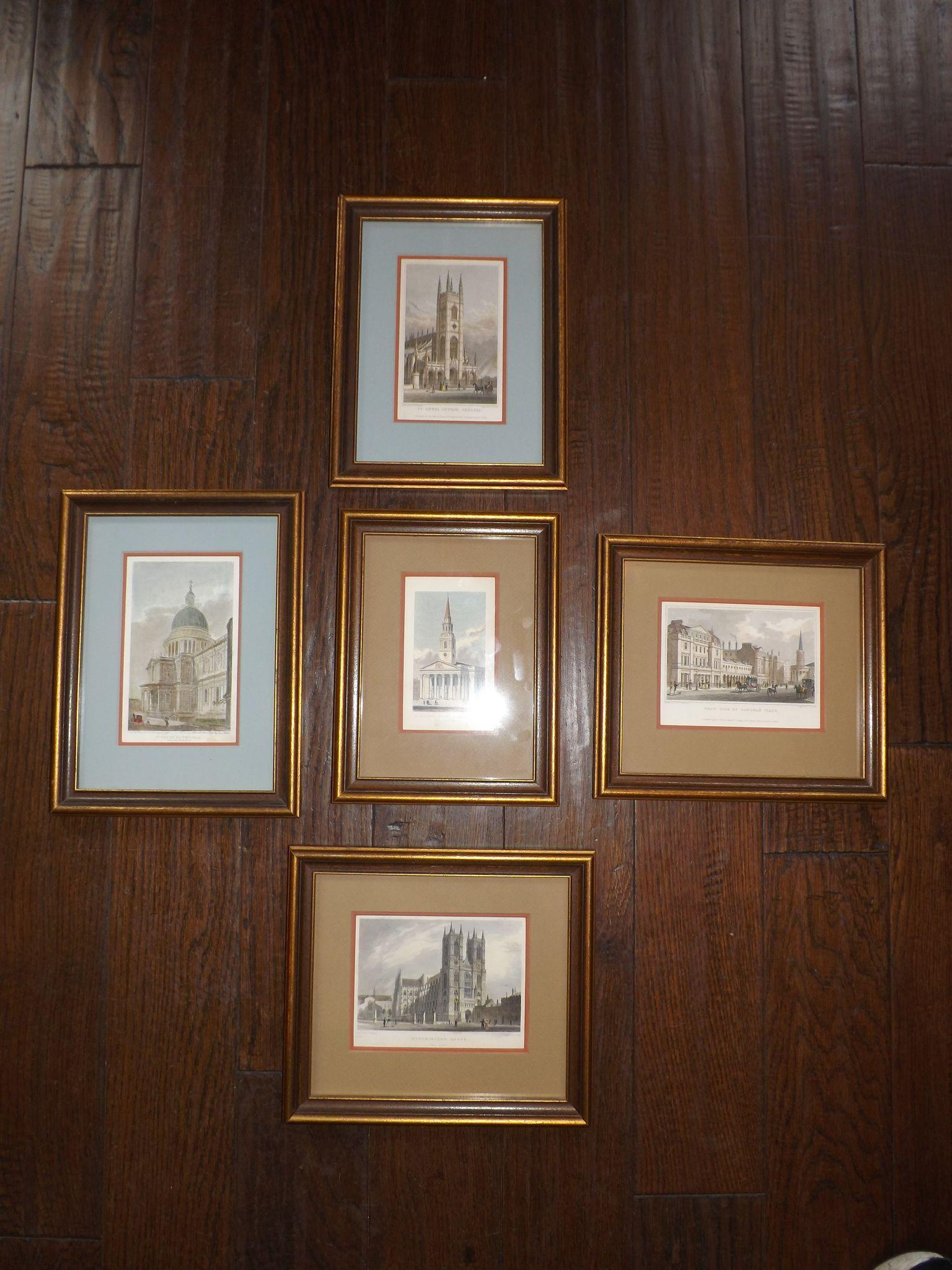 Set of 5 Antique Hand Colored Engravings of London Churches 1810 - 1828