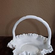 Fenton Hobnail White Glass Brides Basket