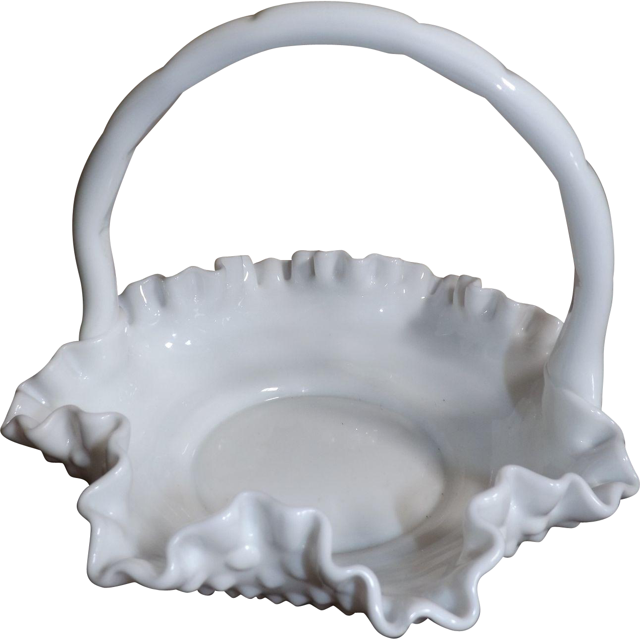 Fenton Hobnail White Glass Brides Basket