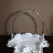 Ruffled White Cased Glass Brides Basket