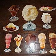 Vintage Die Cut Cardboard 50's Diner Ice Cream Display Signs - SET OF 10