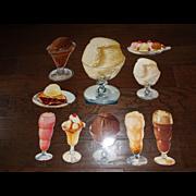 Vintage Die Cut Cardboard 50's Diner Ice Cream Display Signs - SET OF 10