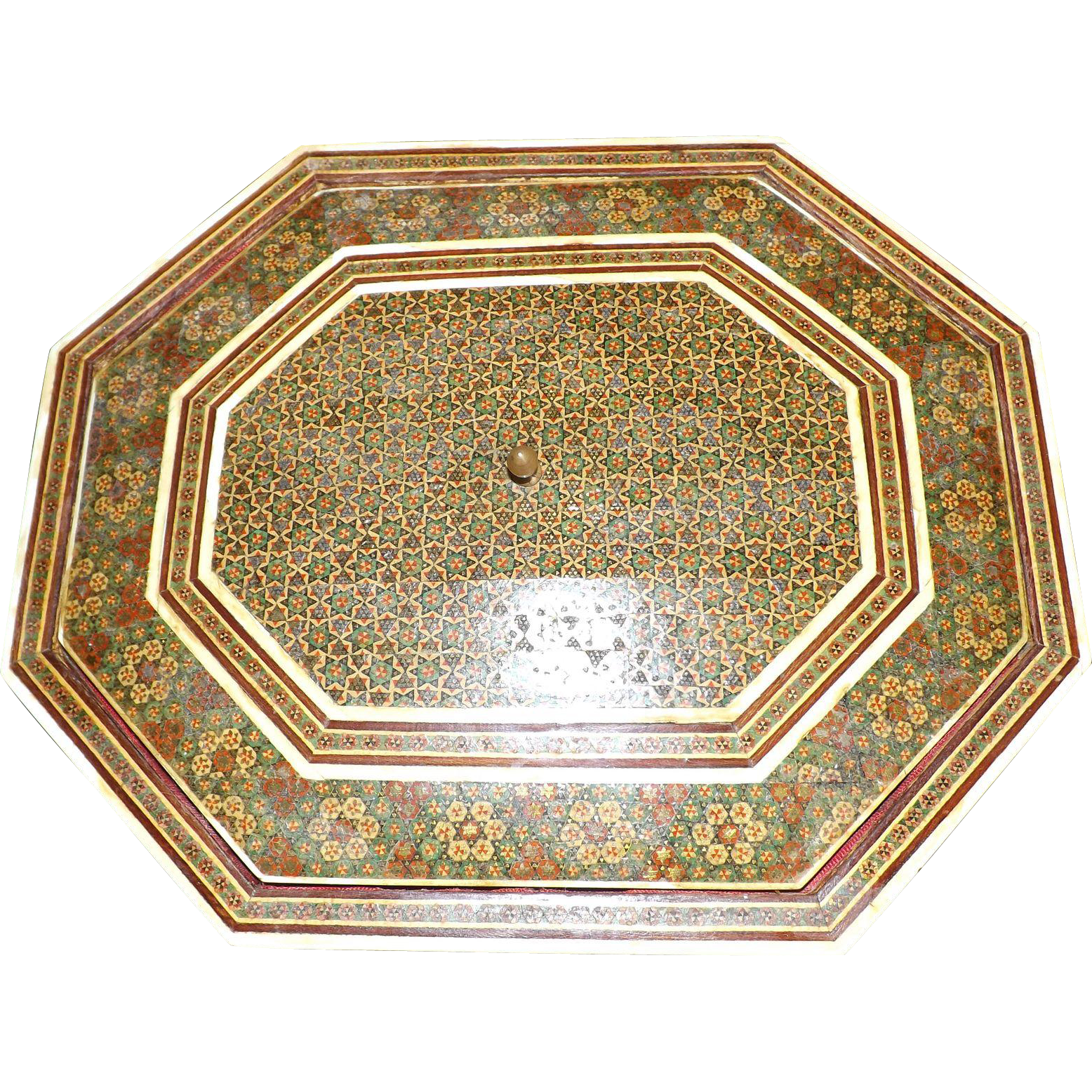 Antique Hexagonal Marquetry Inlaid Sewing Box