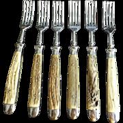 Rare vintage set of Voss Forged Stainless Steel Antler Handle Dinner Forks