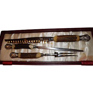Vintage Antler Handle 3 Piece Carving Set by Cooper Bros. & Sons