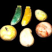 6 Vintage Italian Marble / Alabaster fruits