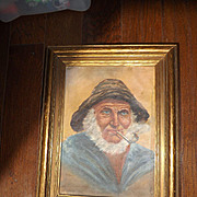 Antique Nautical Oil Painting of Ships Captain