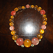 VIntage 1960's Costume Jewelry Stone Necklace