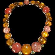 VIntage 1960's Costume Jewelry Stone Necklace