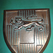 Vintage 1966 Scovill Cast Aluminum Middle Ages Coat of Arms Shield Wall Plaque