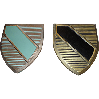 Set of 2 Vintage 1966 Scovill Cast Aluminum Middle Ages Coat of Arms Shield Wall Plaques