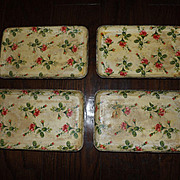 Highmount Quality Tip Trays Tea Trays Set of 4 Vintage Floral Design