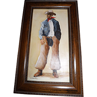 Small Original Oil Painting of a Cowboy