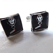 Vintage 1960's Glass Non-Smoking Skull & Cigarette Cufflinks