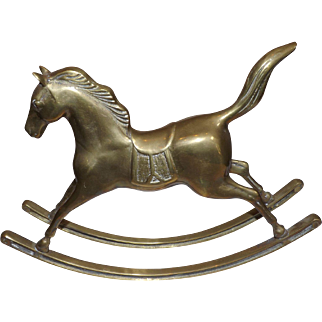 Vintage Cast Brass Rocking Horse