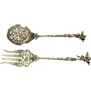 Brass Fork Spoon Serving Set