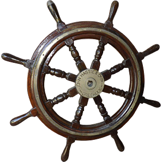 "Rare 1940's vintage John Hastie & Co. 36"" Mahogany and Brass Ships Wheel"