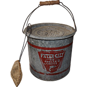 Vintage 1950s Falls City Metal Minnow Bait Bucket Pail Angler's Choice