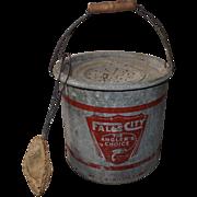 Vintage 1950s Falls City Metal Minnow Bait Bucket Pail Angler's Choice