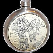 Vintage Sheffield England Pewter Pocket Flask Double Signed Hunt Scene