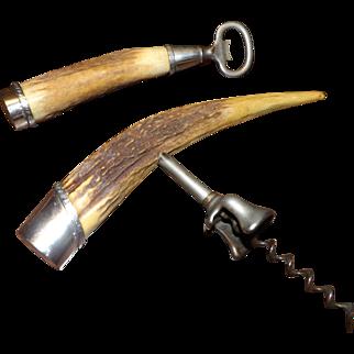 Antique J. F. Fradley Corkscrew and Bottle Opener Sterling & Antler