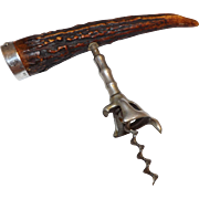 Antique John Hasselbring Antler Handle Corkscrew with Sterling Belt Buckle end cap