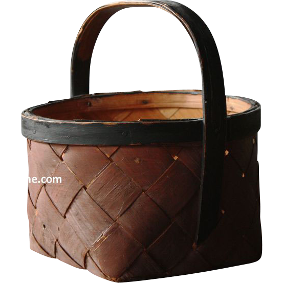 Antique Swedish Bentwood Splint Basket in Original Paint