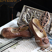 Antique Child's Leather Shoes - Edwardian Era