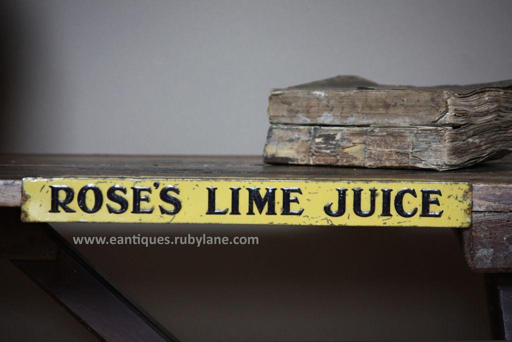 Vintage Rose's Lime Juice Tin Advertising Shelf Strip