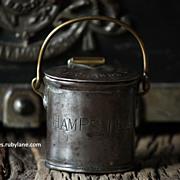 Antique English Dairy Milk Cream Can - Brass / Steel TINY Pail