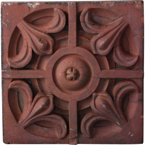 Antique Victorian Terracotta Facade Brick - 19th Century Architectural Salvage Element
