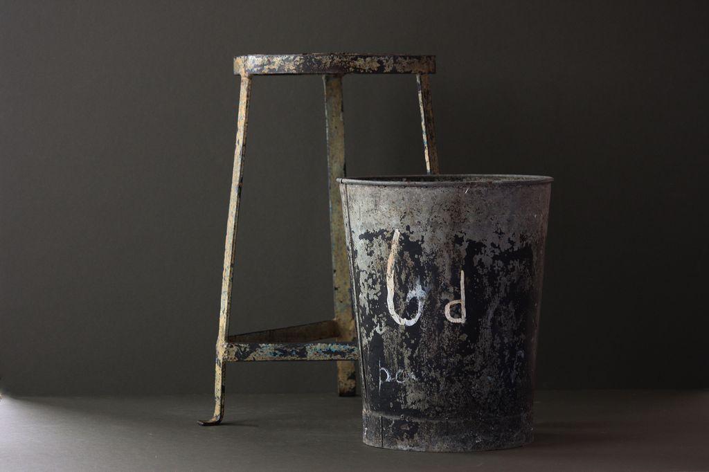 Vintage English Florists Flower Bucket - Galvanized Metal Market Garden BUcket