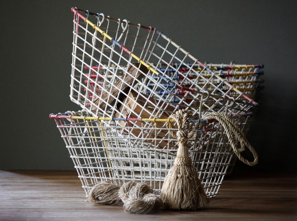 Vintage French Wire Oyster Baskets - Wirework Basket